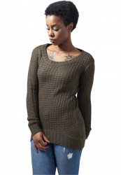 Dámsky sveter URBAN CLASSICS LADIES LONG WIDENECK SWEATER olive