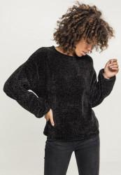 Dámsky sveter Urban Classics Ladies Oversize Chenille Sweater čierny