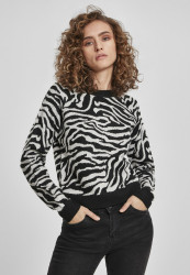 Dámsky sveter Urban Classics Ladies Short Tiger Sweater black/grey