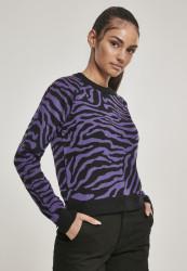 Dámsky sveter Urban Classics Ladies Short Tiger Sweater blk/pur