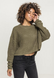 Dámsky sveter Urban Classics Ladies Wide Oversize Sweater olive