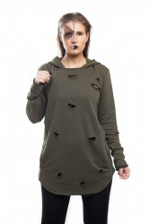 DANNY´S CLOTHING Army mikina s dírama UNISEX - M / Barva: green