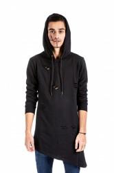 DANNY´S CLOTHING Asymetrická mikina s kapucí černá UNISEX - M / Barva: Černá, Velikost: S