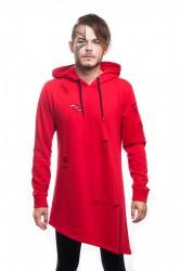 DANNY´S CLOTHING Asymetrická mikina s kapucí červená UNISEX - L / Barva: Červená