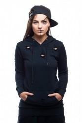 DANNY´S CLOTHING Černá mikina s kapucí UNISEX - Černá / Barva: Černá, Velikost: M