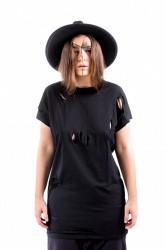 DANNY´S CLOTHING Naripované tričko s krátkým rukávem - M / Barva: Černá, Velikost: S