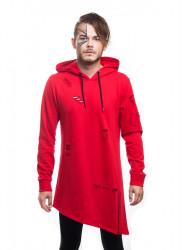 DANNY´S CLOTHING Pánska asymetrická mikina s kapucňou DANNY CLOTHING red