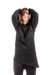 DANNY´S CLOTHING Šikmá mikina s kapucí černá UNISEX - M / Barva: Černá, Velikost: S