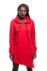 DANNY´S CLOTHING Šikmá mikina s kapucí UNISEX - L / Barva: Červená