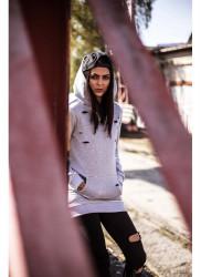 DANNY´S CLOTHING Sivá mikina Danny Clothing potrhaná UNISEX #2