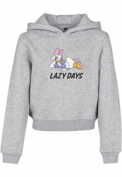 Detská crop top mikina MR.TEE Kids Daisy Duck Lazy Cropped Hoody Farba: heather grey,