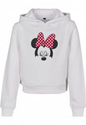 Detská mikina MR.TEE Kids Minnie Mouse Bow Cropped Hoody Farba: white,