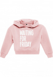 Detská mikina MR.TEE Kids Waiting For Friday Cropped Hoody Farba: pink,