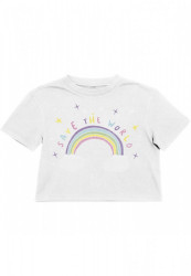 Detské tričko MR.TEE Kids Save The World Cropped Tee Farba: white,