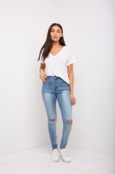 Jeans Liquor n Poker Detroit High Wasted Ripped Knee Skinnies Blue