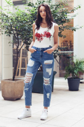 Jeans Sixth June Mummy Fit With Destroy Blue Farba: Modrá,