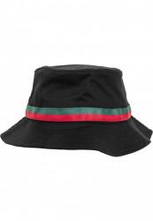 Klobúk Urban Classics Stripe Bucket Hat black/firered/green