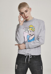 MERCHCODE Dámska mikina Ladies Cinderella Change Your Shoes Crewneck Farba: heather grey,
