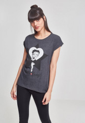 MERCHCODE Ladies Betty Boop Star Tee Farba: charcoal,