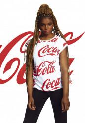 7b0dee4f39 MERCHCODE Ladies Coca Cola AOP Tee Farba  white