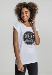 MERCHCODE Ladies Coca Cola Chinese Black Tee Farba: white,