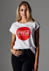 MERCHCODE Ladies Coca Cola Round Logo Tee Farba: white,