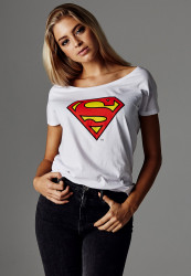 MERCHCODE Ladies Superman Logo Tee Farba: white,