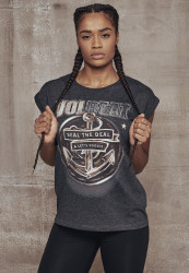 MERCHCODE Ladies Volbeat Seal The Deal Tee Farba: charcoal,