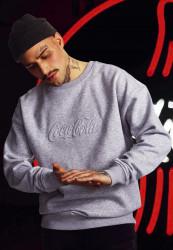 MERCHCODE Pánska mikina Coca Cola Embossed Crewneck Farba: grey,