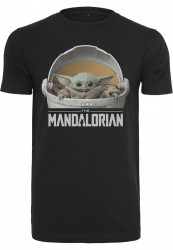 MERCHCODE Pánske tričko MR.TEE Baby Yoda Mandalorian Logo Tee Farba: black,