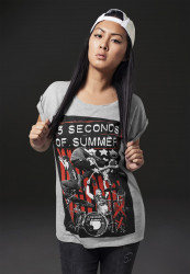 MR.TEE Ladies Five Seconds of Summer Longprint Tee Farba: heather grey,