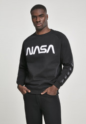 MR.TEE NASA Wormlogo Rocket Tape Crewneck Farba: black,