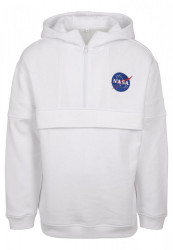 MR. TEE Pánska biela mikina Mister NASA Chest Embroidery Pull Over Hoody