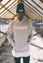 MR. TEE Unisex mikina Mister Tee Compton Hoody grey/wht