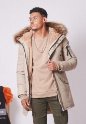 Pánska béžová bunda na zimu Sixth June Lining Fur Parka