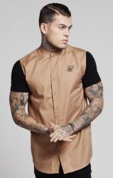 Pánska béžová košeľa s krátkym rukávomm Sik Silk