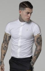 Pánska biela košeľa s krátkym rukávom Sik Silk Cartel Roll Sleeve Grandad