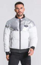 Pánska bombera Gianni Kavanagh Silver/White Block Bomber Jacket Velikost: XL, Objem: pánske