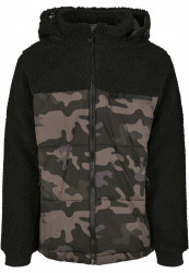 Pánska bunda BRANDIT Jackson Teddyfleece Jacket Farba: black/darkcamo, Grösse: XXL #7