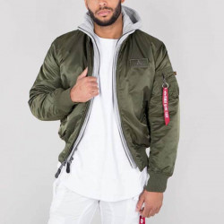 Pánska bunda s kapucňou Alpha Industries MA-1 D-Tec Jacket Dark Green
