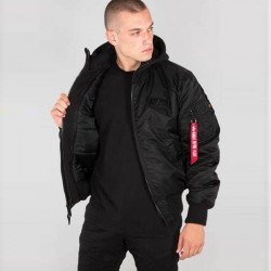 Pánska bunda s kapucňou Alpha Industries MA-1 D-Tec SE Jacket Black #1