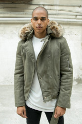 Pánska bunda Sixth June hooded fur Perfecto khaki beige