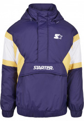 Pánska bunda Starter Color Block Half Zip Retro Farba: starter purple/wht/buff yellow, Grösse: XXL