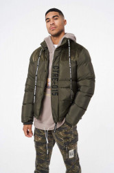 Pánska bunda THE COUTURE CLUB Slogan Puffer With Hood khaki