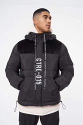Pánska bunda THE COUTURE CLUB Slogan Puffer With Hood