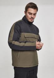 Pánska bunda URBAN CLASSICS 2-Tone Padded Pull Over Jacket darkolive/black