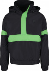 Pánska bunda Urban Classics 3-Tone Neon Mix Pull Over Jacket black/neon green