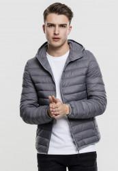 Pánska bunda Urban Classics Basic Hooded Down Jacket darkgrey
