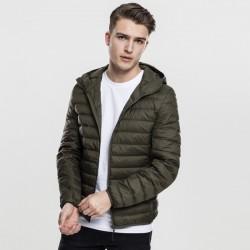 Pánska bunda Urban Classics Basic Hooded Down Jacket darkolive