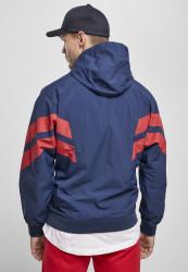 Pánska bunda URBAN CLASSICS Crinkle Panel Track Jacket darkblue/cityred #3